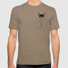 Pocket Chihuahua - Black Mens Fitted Tee Tri-Coffee LARGE