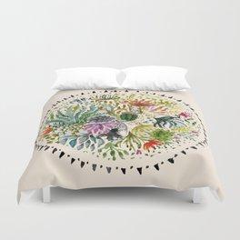 Succulents Mandala Duvet Cover