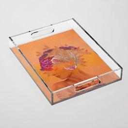 Woman in flowers III Acrylic Tray