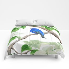 Royal Blue-Indigo Bunting in the Dogwoods by Teresa Thompson Comforters