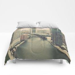 Raised Bridges Over Chicago River Color Photo Comforters
