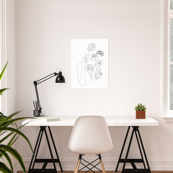 Minimal Line Art Woman with Flowers III Poster