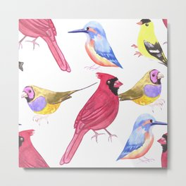 Watercolor Birds in triad color scheme- red, yellow, blue Metal Print