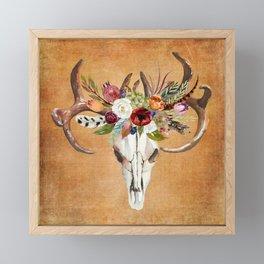 Boho Flower Skull on Ocre Canvas Framed Mini Art Print