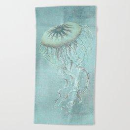 Jellyfish Underwater Aqua Turquoise Art Beach Towel