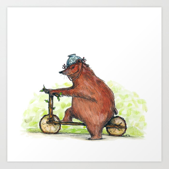 Bear Bike Art Print
