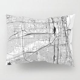 Chicago White Map Pillow Sham