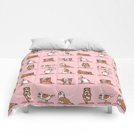 English Bulldog Yoga in Pink Comforters