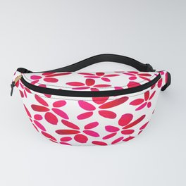 Red Watercolour Floral Pattern Fanny Pack