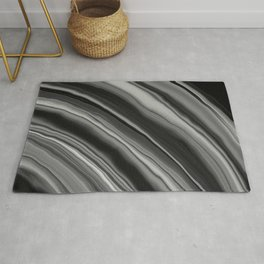 Liquid Black Gray White Agate Dream #2 #gem #decor #art #society6 Rug