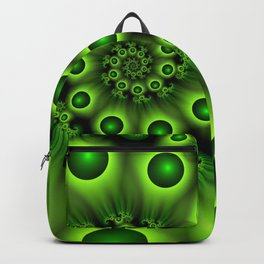 Green Fractal, Modern Spiral With Depth Backpack