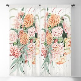 Fall Dahlia Bouquet Blackout Curtain