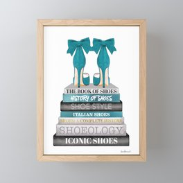 Books, Teal, Shoes, Fashion books, Fashion illustration, Fashion, Amanda Greenwood, watercolor, wall Framed Mini Art Print
