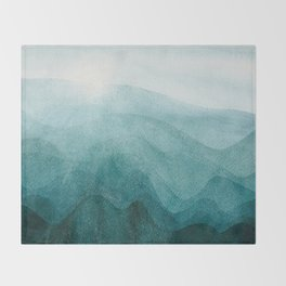 Sunrise in the mountains, dawn, teal, abstract watercolor Throw Blanket