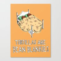 blankets Canvas Prints featuring Bean Blankets by Molly Adair