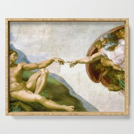 The Creation of Adam Painting by Michelangelo Sistine Chapel Serving Tray