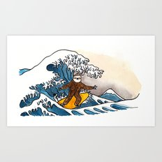 Sloth riding the Great Wave Art Print
