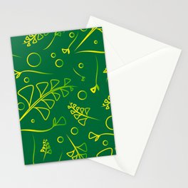 Botanical lemon pattern from plants and grass blades on a mint background. Stationery Cards