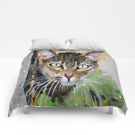 The Curious Tabby Cat Comforters