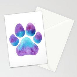 Purple Blue Pawprint Stationery Cards