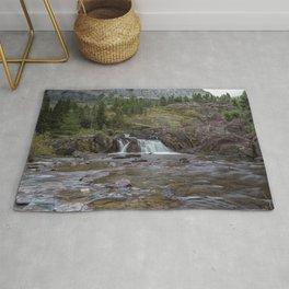 Redrock Falls - Glacier National Park Rug