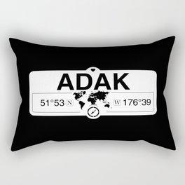 Adak Alaska GPS Coordinates Map Artwork with Compass Rectangular Pillow