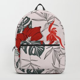 Red bloom hibiscus Backpack