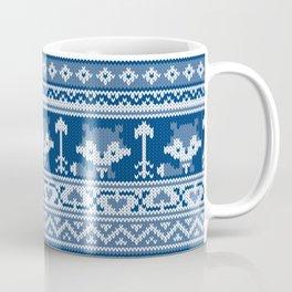 Fair Isle Fox Blue - White Coffee Mug