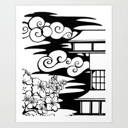 Cherry Blossoms and Pagoda Art Print