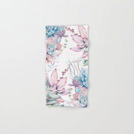 Pretty Pastel Succulents Garden 2 Hand & Bath Towel