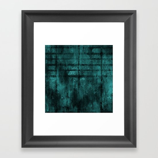 Turquoise Lined Rusted Metal Look Framed Art Print