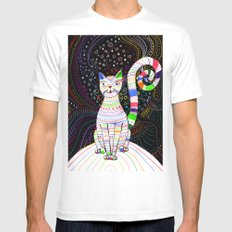 Space cat White Mens Fitted Tee MEDIUM
