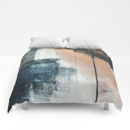Honey 1: a pretty, minimal abstract in midnight blue, rose gold, and white Comforters