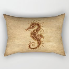 Aged Vintage Intricate Tribal Seahorse Design Rectangular Pillow