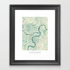 Chingqing Map Blue Vintage Framed Art Print
