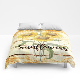 Country Sunflowers on wood Comforters