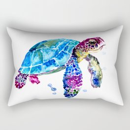 Sea Turtle, Blue Purple Turtle illustration, Sea Turtle design Rectangular Pillow