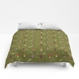 Pixel Mushrooms on Green Comforters