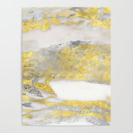 Silver and Gold Marble Design Poster