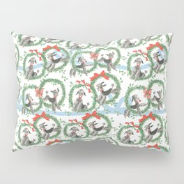 POODLES celebrate CHRISTMAS with a blue ribbon Pillow Sham