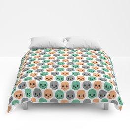 Orange, green and grey skulls Comforters
