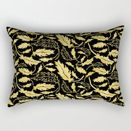 Art Deco Nouveaux Ornate Leaf Pattern Rectangular Pillow
