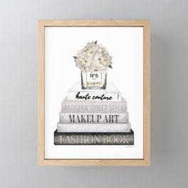 Fashion books, in Grey, with Hydrangeas, Cream, Make up, Watercolor, Fashion, Illustration Framed Mini Art Print