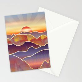 Golden Sunset Over Rolling Hills And Mountains Stationery Cards