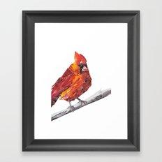 Red Cardinal Bird Collage Framed Art Print