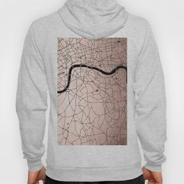 London Rosegold on Black Street Map Hoody