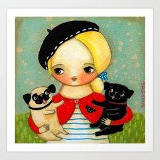 French girl with black pug and fawn pug Art Print