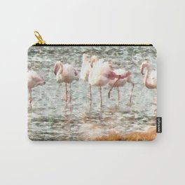 Six Flamingos A Wading Watercolor Carry-All Pouch