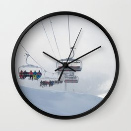 Skiers on chairlift, Alps Wall Clock