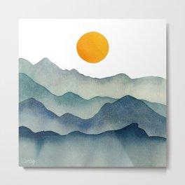 Mountain Range Silhouette – Blue & Yellow Metal Print
